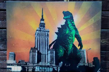 Godzilla in Warsaw by Szykielet