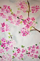 Sakura flowers watercolor by Ashley2020