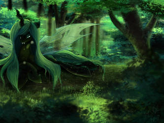 Chrysalis in the Forest by FoughtDragon01