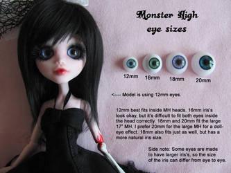 Monster High eye sizes by HavenRelis