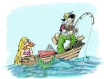 Catching Fish - now in color! by Sabakakrazny