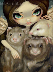 Angel with Ferrets by jasminetoad