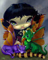 Two Cute Dragonlings by jasminetoad