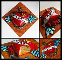Heart Tattoo Cake by CakeUpStudio