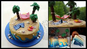 Tropical Island Cake - details by CakeUpStudio