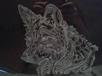 Wolf engraving by LadyL0rien