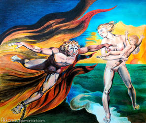 Good and Evil Angels after William Blake by Akkanash