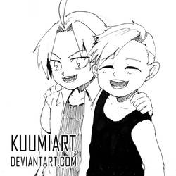 Ink Challenge 09 - Elric Brothers by KuumiArt