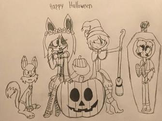 Happy Halloween from Sinny, Elvira, Ethan, and Var by IvyEspoen98