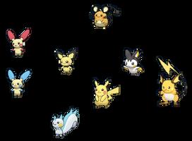 Pokemon Electric Mouse family by Elitegengar