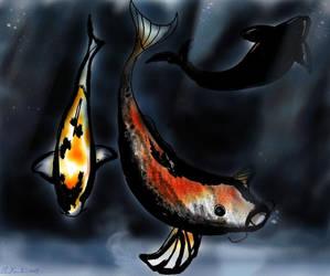 Sumi-e Koi by Victor-Surge