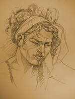 Life Drawing - a pensive model by outsidelogic
