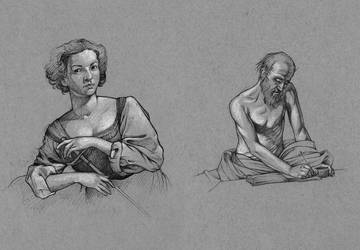 Caravaggio Studies in Ballpoint by outsidelogic