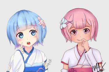 Art Collab rem and ram~ by Konakurou