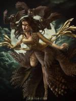 Owl Lady by merkerinn