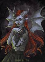 Demonic Cat Lady by merkerinn