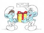 Smurfs: Jokey gives Matt an exploding present by GrishamAnimation1