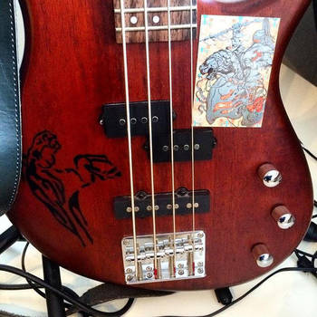 Horse print on bass guitar by TSF-FirewindHorse