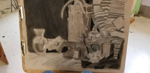 Still life-- Charcoal on toned paper by bbccbre