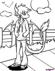 F2U Anthro dragon lineart by Skoryx