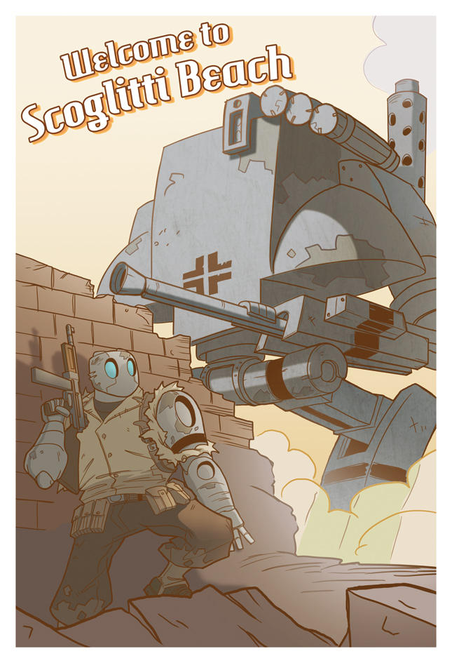 Atomic Robo Postcard by Zubby