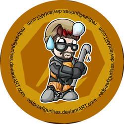 Gordon Freeman Chibi Badge by RedPawDesigns