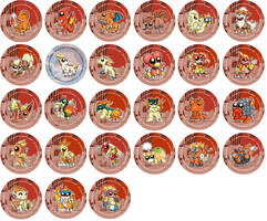 Fire Type Pokemon Chibi Badges by RedPawDesigns