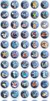 Water Type Pokemon Chibi Badges by RedPawDesigns