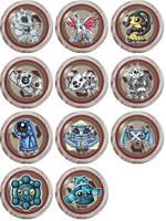 Steel Type Pokemon Chibi Badges by RedPawDesigns