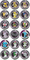 Psychic Type Pokemon Chibi Badges by RedPawDesigns