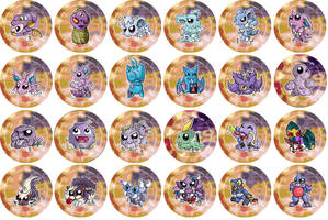 Poison Type Pokemon Chibi Badges by RedPawDesigns