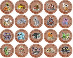 Ground Type Pokemon Chibi Badges by RedPawDesigns