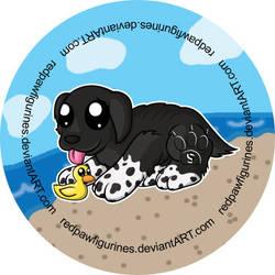 Newfoundland Chibi Badge by RedPawDesigns