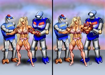 Tetsuko vs. 2 Robots by DavidCMatthews