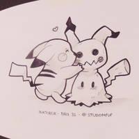 Inktober #31: Pikachu and Mimikyu! by Desinho