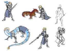 Valia dragonknight sketches by BlueDraconicKnight