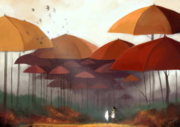 White umbrella by CHEER--UP