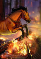 Fire in the woods by Tibet-Lama