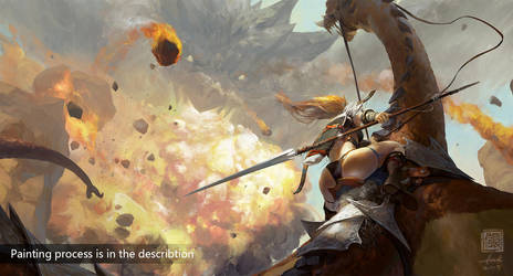 Painting Process of 'Dragon Hunting' by 6kart