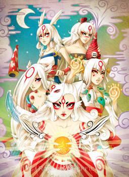 Okami Brush Goddesses by Firefly-Raye