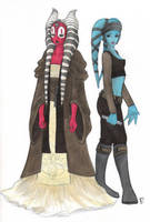 Shaak Ti and Aayla Secura by sketchtastrophe