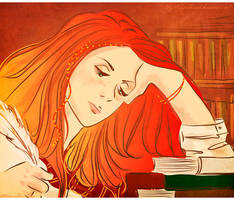 Lily in the library by LilyRedHaired
