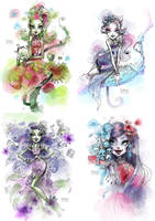 Gloom and Bloom, Haunting High-Fashion Sketches by darkodordevic