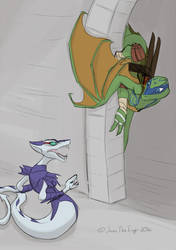 Turtle-Dragon Leo is a Creeeeep~! by JazzTheTiger