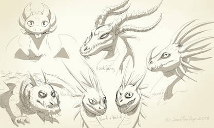 HTTYD Dragon Gang - Sketchdump by JazzTheTiger