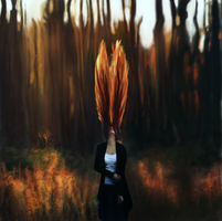 Fire Hair Painting by Rongness