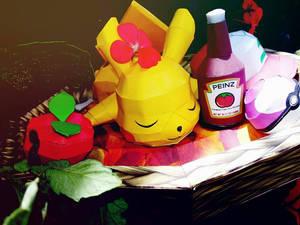 pikachu dormilon papercraft by johannhernandez117