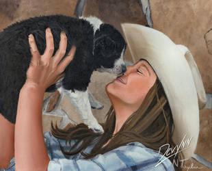 Puppy Love - Oil on Canvas by Devynn