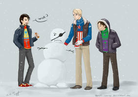 Christmas Avengers - Tony, Steve and Bruce by Tenshi-Inverse