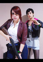 Claire Redfield and Moira Burton cosplay by CodeClaire